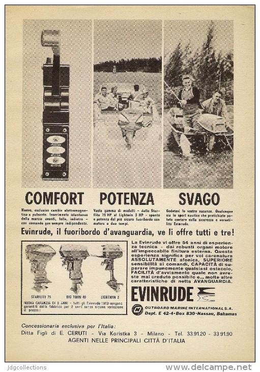# EVINRUDE Outboard Marine Motor 1960s Italy Advert Pub Pubblicità Reklame Boat Bateau Boot  Sea River Lake Mer Fishing - Boats