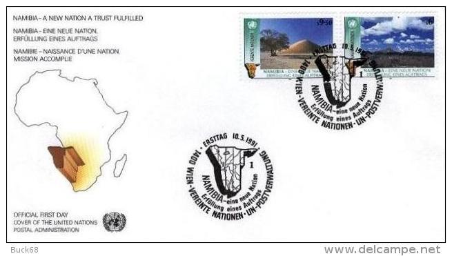 ONU UNO VIENNE WIEN FDC Premier Jour Poste 122 Et 123 : NAMIBIE NAMIBIA Naissance D´une Nation - FDC