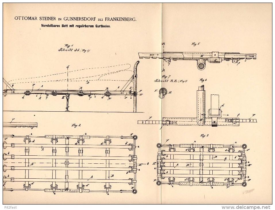 Original Patentschrift - O. Steiner In Gunnersdorf B. Frankenberg I.S., 1888 , Verstellbares Bett , Matratze , Möbel !!! - Historische Dokumente