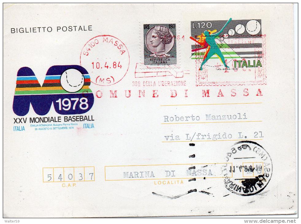 1984 Italy Italie Italia Intero Lettercard Entier BASEBALL £120+180 +100 EMA Red Meter - 6. 1946-.. Repubblica