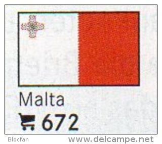 Set 6 Flaggen Malta In Farbe 4€ Zur Kennzeichnung Von Büchern, Alben Und Sammlungen Firma LINDNER #672 Flags Of Republik - Unclassified