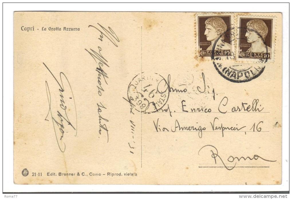 229/500 - CAPRI , GROTTA . Viaggiata Nel 1931 - Napoli