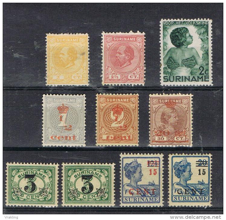 K 144  LOT SURINAME  XX + X  ZIE SCAN - Stamps
