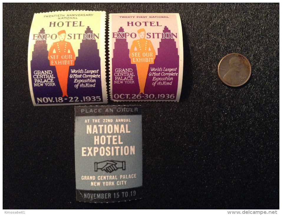 US, National Hotel Exposition Cinderella Stamps  (x3) 1935~1937 - Cinderellas