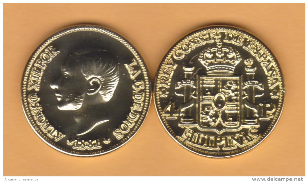 SPAIN / ALFONSO XII  FILIPINAS (MANILA)  4 PESOS  1.881  ORO/GOLD  KM#151  SC/UNC  T-DL-10.709 COPY U.K. - Provincial Currencies