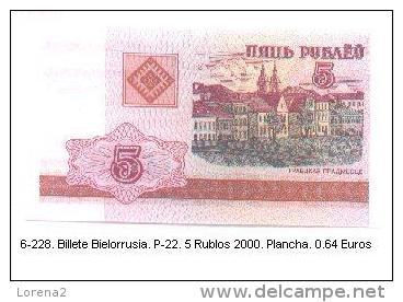 6-228. Billete Bielorusia . P-22. 5 Rublo Año 2000 - Belarus