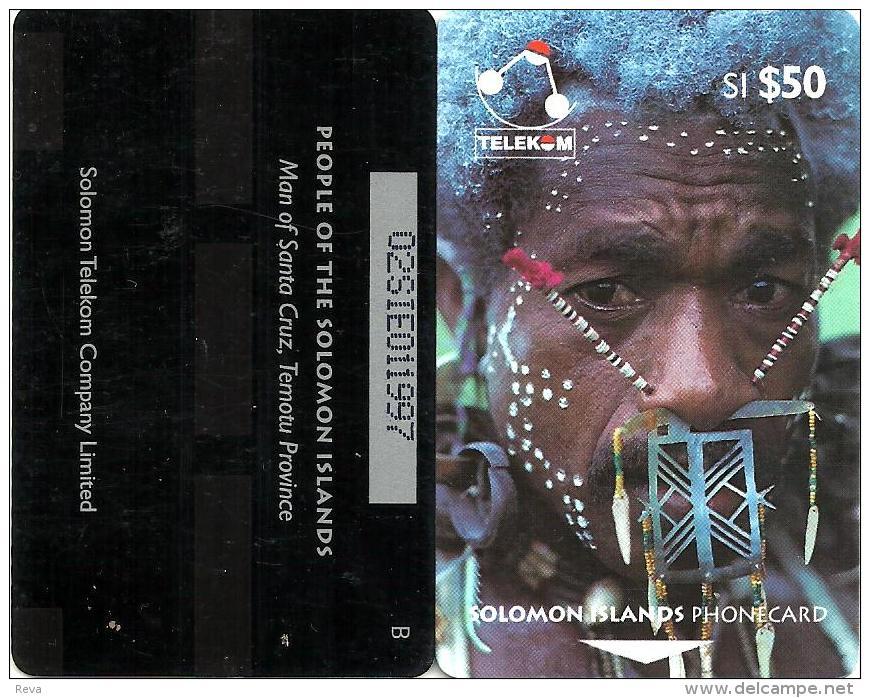 "SOLOMON ISLANDS $50 PEOPLE OF SI MAN FROM SANTA CRUZ 1ST TYPE ""C"" ON REVERSE 1993 GPT CODE: SOL-08 READ DESCRIPTION !! - Solomon Islands"
