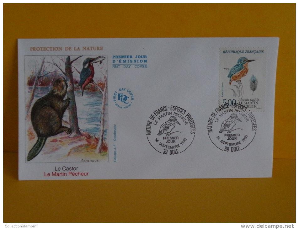 FDC- Le Castor, Le Martin Pêcheur - 39 Dole - 14.9.1991 - 1er Jour, - 1990-1999