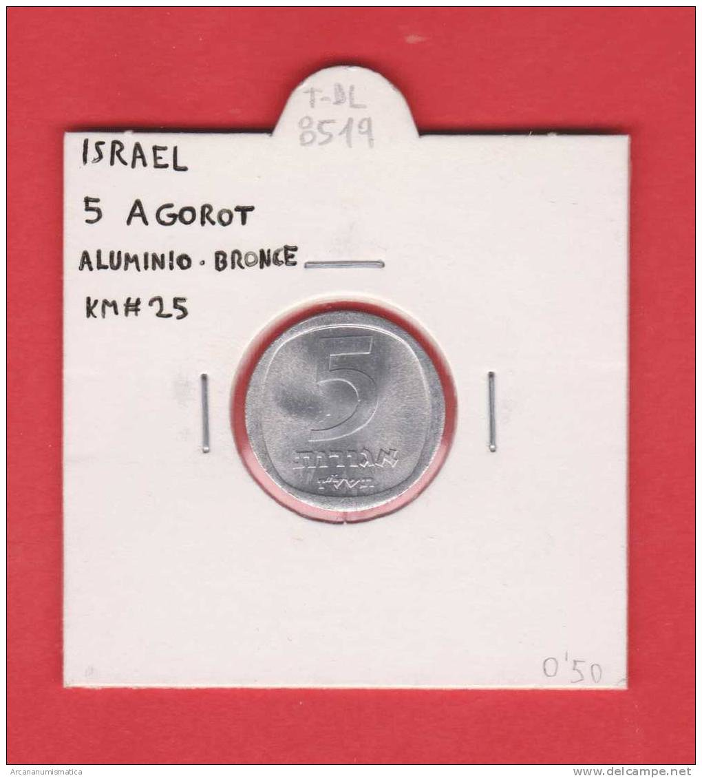 ISRAEL   5  Agorah   ALUMINIO-BRONCE   KM#25    SC/UNC    DL-8519 - Israel