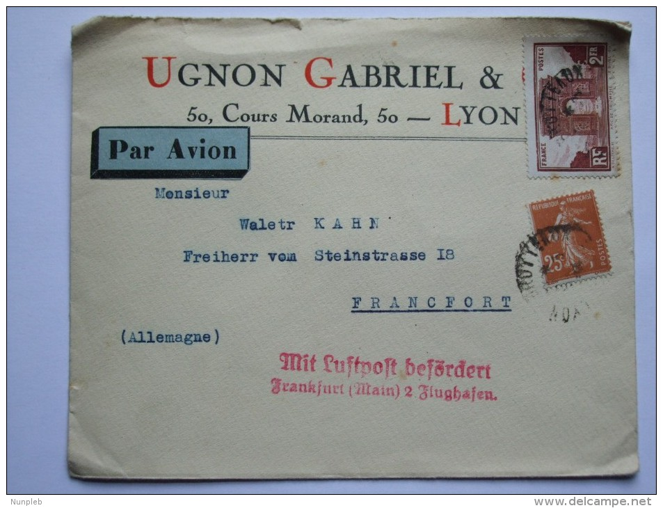 FRANCE 1934 AIR MAIL COVER FROM LYON TO FRANKFURT GERMANY WITH VARIOUS CACHETS - France