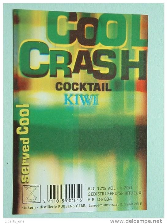 COOL CRASH Cocktail KIWI / Rubbens Zele 12% Vol. - 70 Cl ( +/- 8 X 11,5 Cm. / Details Op Foto ) !! - Unclassified