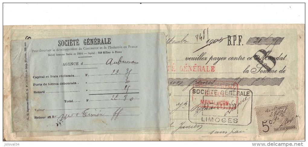 Lettre Change 28/9/ 1904 TIXIER Vins Alcools AUBUSSON Creuse Pour Saint Junien - Timbre Fiscal - Lettres De Change