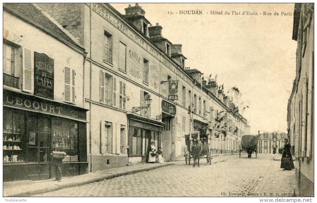 CPA 78 HOUDAN HOTEL DU PLAT D ETAIN RUE DE PARIS - Houdan