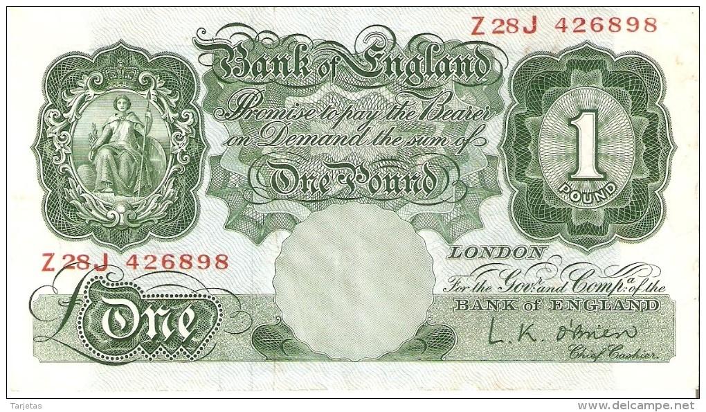 BILLETE DE REINO UNIDO DE 1 POUND DE LOS AÑOS 1948 A 1960   (BANKNOTE) - …-1952 : Antes Elizabeth II