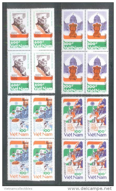 Blocks 4 Of Vietnam Viet Nam MNH Perf Stamps 1989 : Birth Centenary Of Nehru (Ms561) - Vietnam
