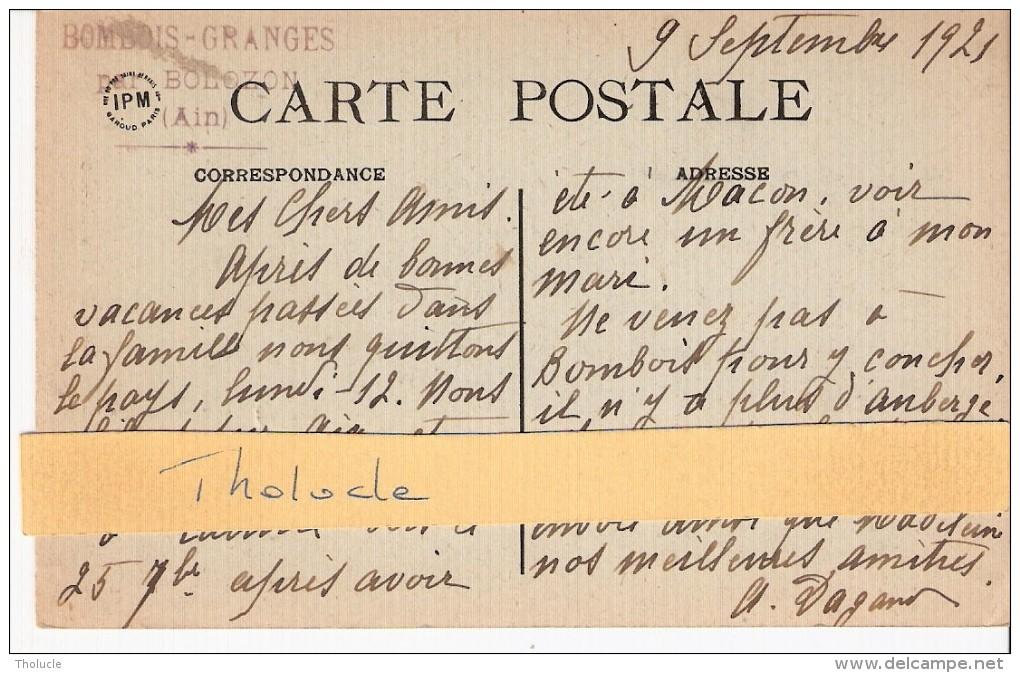 Nantua (Ain)-1921-Les Grands Rochers Avec Barque-Cachet Et Texte (voir Verso)-Bombois-Granges Par Bolozon (Ain) - Nantua