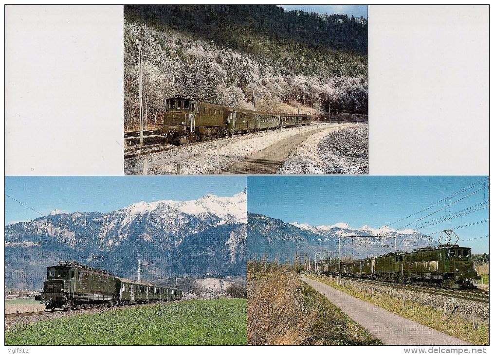 """SUISSE : Locomotive électrique Ae4/7 """"Sécheron"""" Et Ae 3/6 """"Buchli"""" Lot De 6 CPM Détails 2ème Scan - Treinen"""