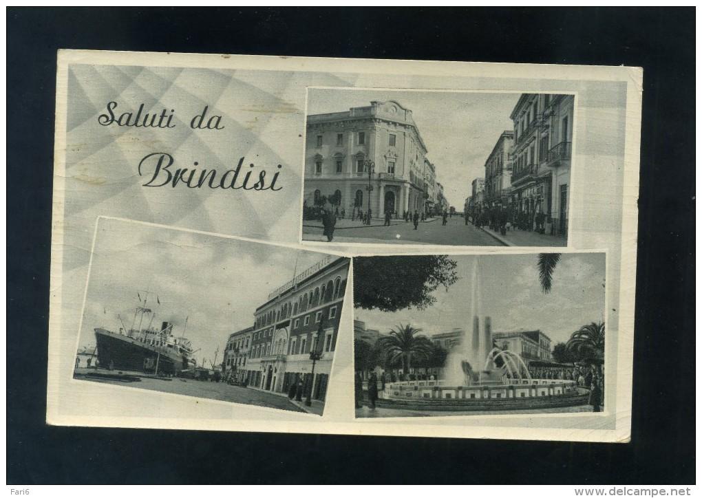 R0495 CARTOLINA SALUTI DA BRINDISI VEDUTINE FP. V. - Brindisi