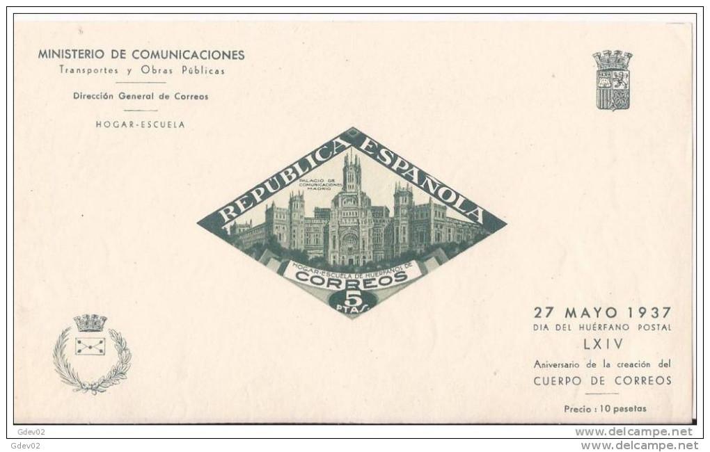 ESBE18-L2576TH.Spain.Espagne.BENEFICENCIA .PALACIO  DE COMUNICACIONES.1937(Ed 18*)con Fifasellos,MUY BON - Blocs & Hojas