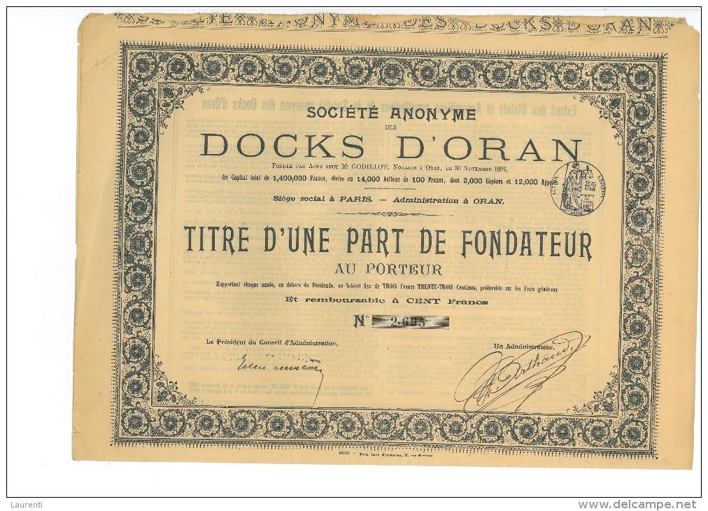 TITRE LT1-----Docks D´Oran Part De Fondateur - Afrique