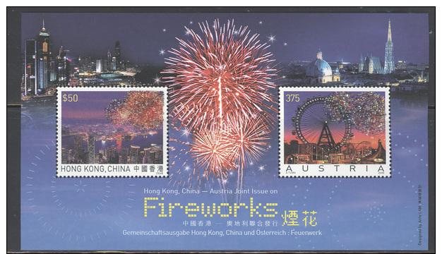 Hong Kong 2006 Souvenir Sheet - Jt. Issue W/Austria Fireworks (embedded Crystals) #1208a.1208b - 1997-... Chinese Admnistrative Region