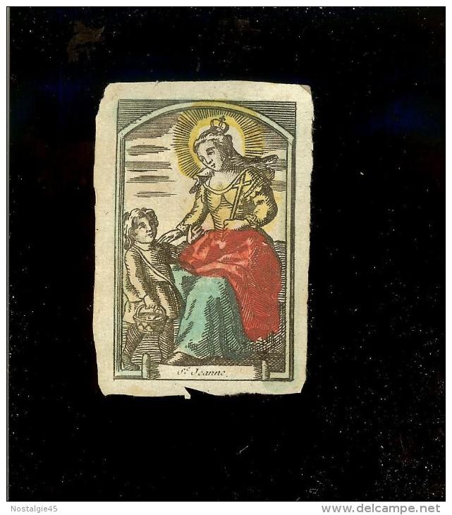 Image Religieuse Parchemin Aquarelle Fin XVIII  /  Ste Jeanne - Vieux Papiers