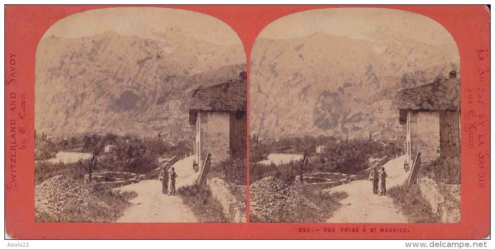 Photo Stéréoscopique, Vue Prise à Saint Maurice (St Maurice) Valais (photo G. Haury) - Photos Stéréoscopiques