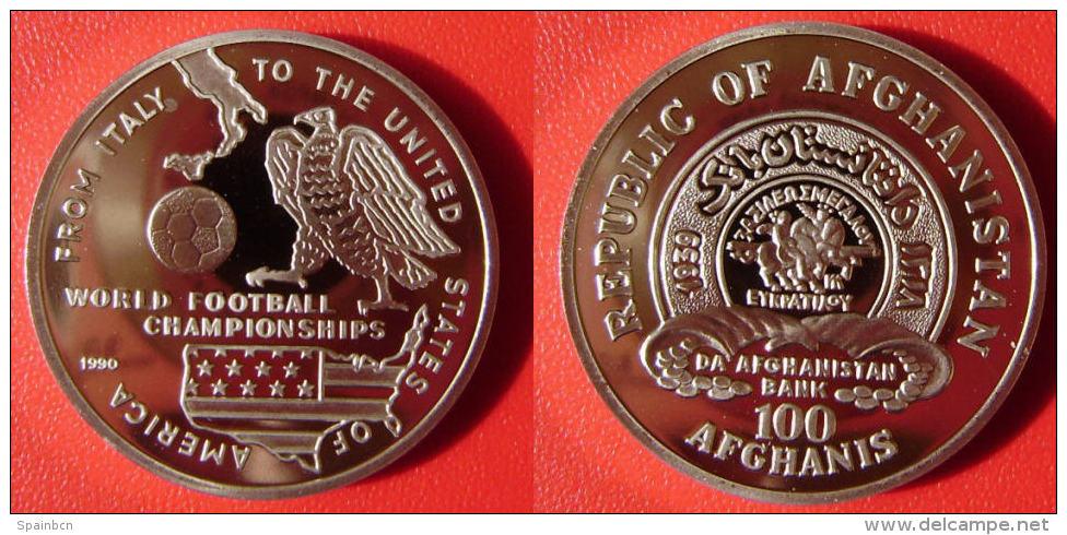 AFGHANISTAN - 100 Afghanis 1990 Copa Futbol / Soccer Cup 1994 USA  KM#1014 Cu-Ni 31mm 16gr. - Afganistán