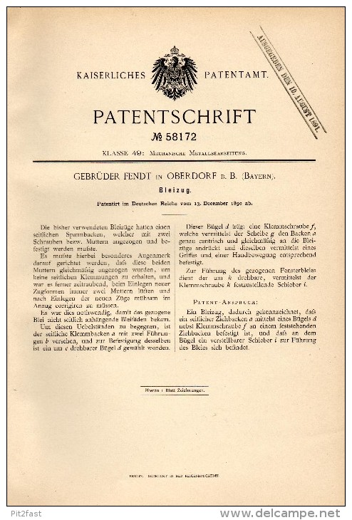 Original Patentschrift -  Gebr. Fendt In Oberdorf B. Marktoberdorf , Bayern , 1890 , Bleizug , Metallbau !!! - Historische Dokumente