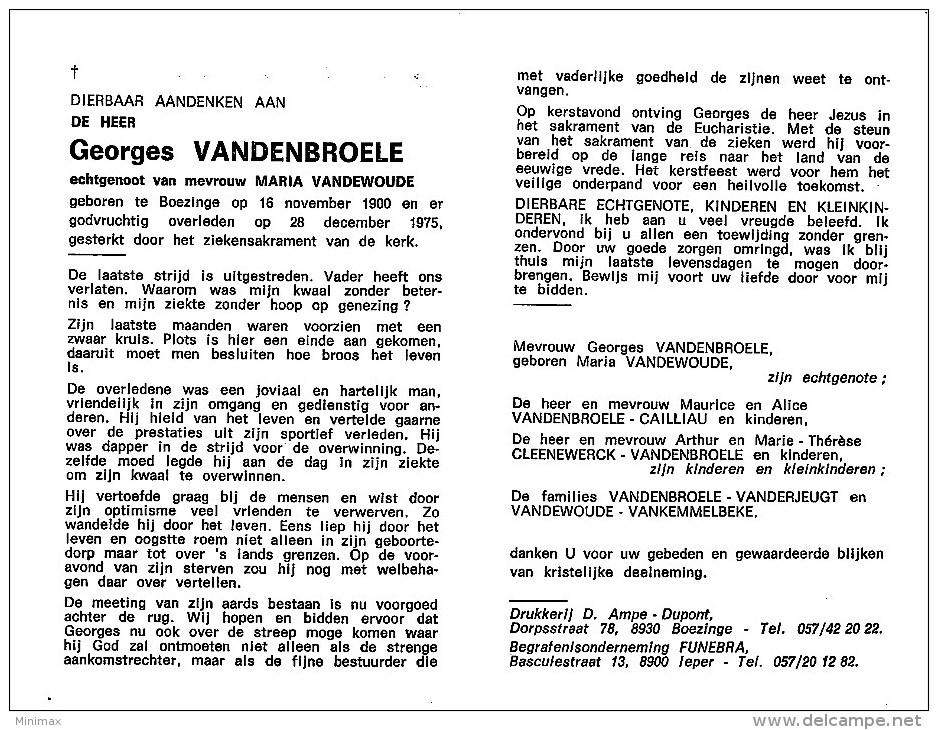 Georges Vandenbroele - Boezinge 1900- 1975 - E. De Maria Vandewoude - Overlijden