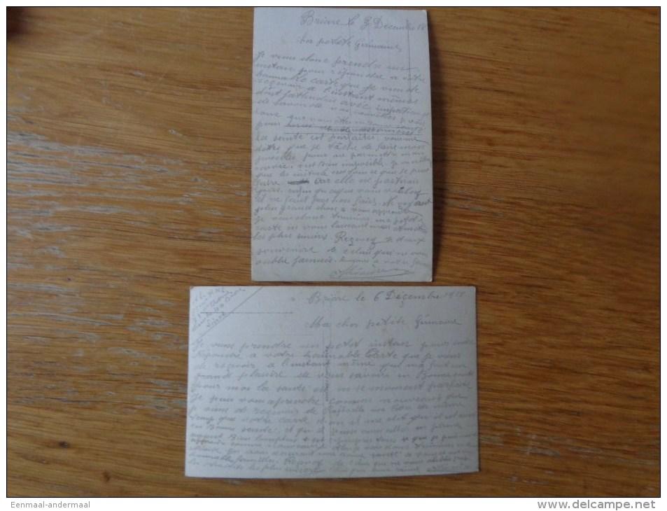 Cpa  GUERRE  WAR   OORLOG 1914-18  2 CARTES  BIENE FAIRE ET LAISSER DIRE BRIARE LE 3 & 6 /12/1918 - Guerre 1914-18