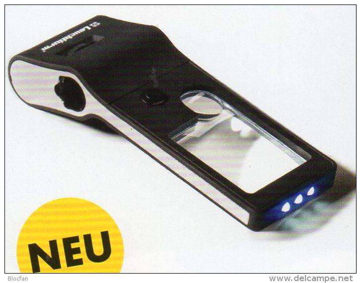 Mikroskop 55x Lupe 10x UV-Licht Neu 10€ Prüfen Karten Briefmarken Münzen Paper Money Cards LEUCHTTURM Offer In Black Bag - Phonecards