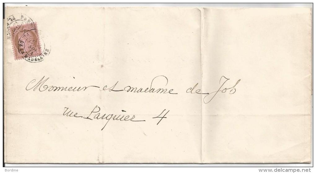 - Lettre - SEINE - PARIS - Càd S/TP Type Cérès IIIème République N°58 Seul/S L  - 1874 - PORT LOCAL - 1871-1875 Cérès
