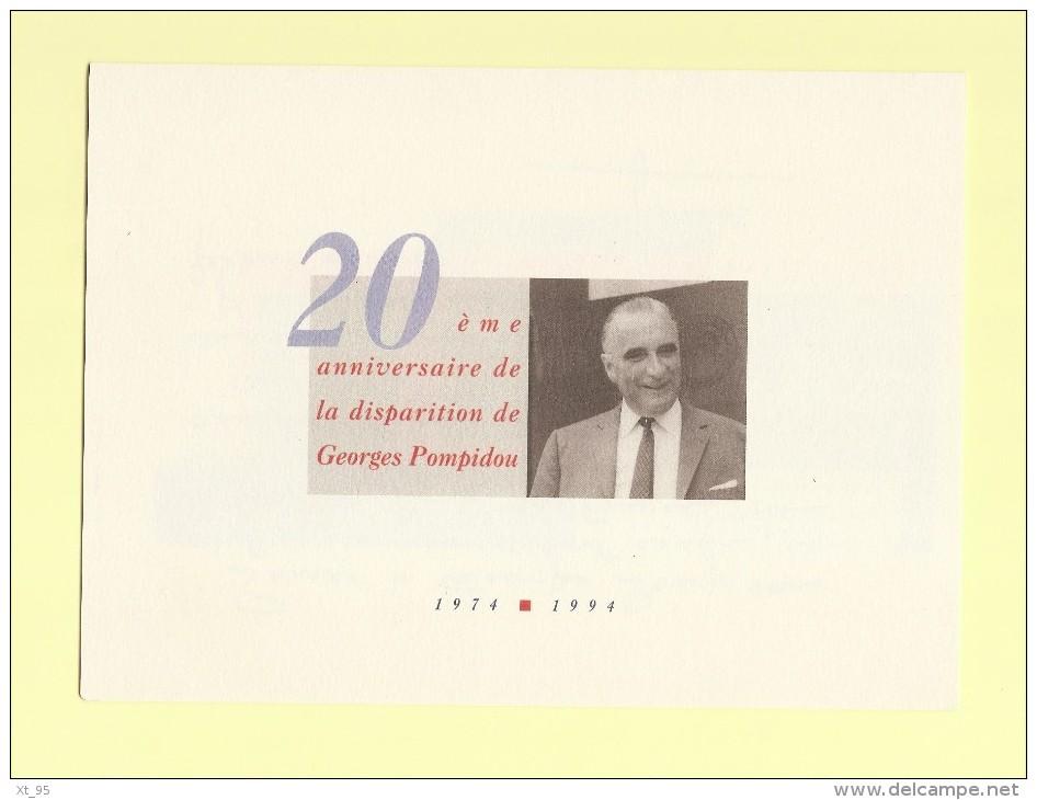 Pompidou - 20eme Anniversaire De La Disparition - Voir Scan - Commemorative Labels