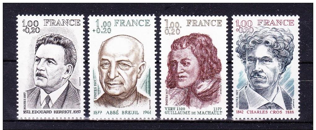 FRANCE  1977 Personalities   ,  Y&T  # 1953/6 , Cv  2.40  E  , ** M N H , V V F - Francia