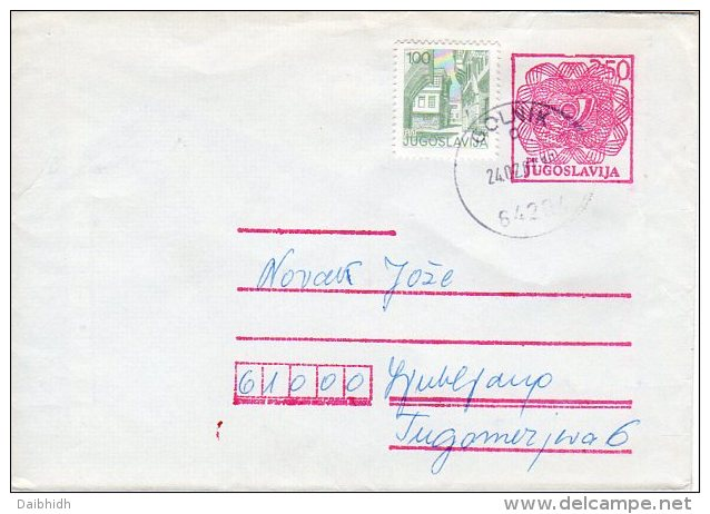 YUGOSLAVIA 1980 2,50 D. Postal Stationery Envelope Used With Additional Stamp.  Michel U88 II - Enteros Postales