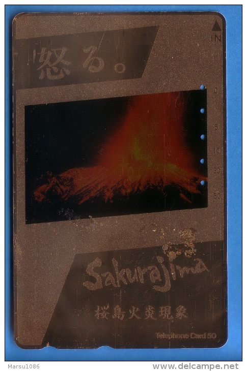 Japan Japon  Telefonkarte Télécarte Phonecard -  Volcan Volcano Vulkan Nr. 390 - 11345 Goldeffekt - Volcans