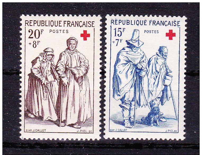 FRANCE  1957 ,  Red Cross  ,  Y&T  #  1140/1,   Cv   11.50  E ,  ** M N H , V V F - Francia