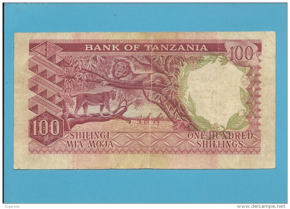 100 SHILLINGS - ND ( 1966 ) - P 5b - Sign. 3 - Serie T - BANK OF TANZANIA - Tanzanie
