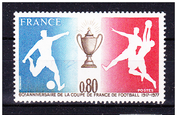 FRANCE 1977  ,   Football France Cup 60 Years   ,   Y&T #  1940 ,  Cv  1.00  E  ** M N H , V V F - Francia