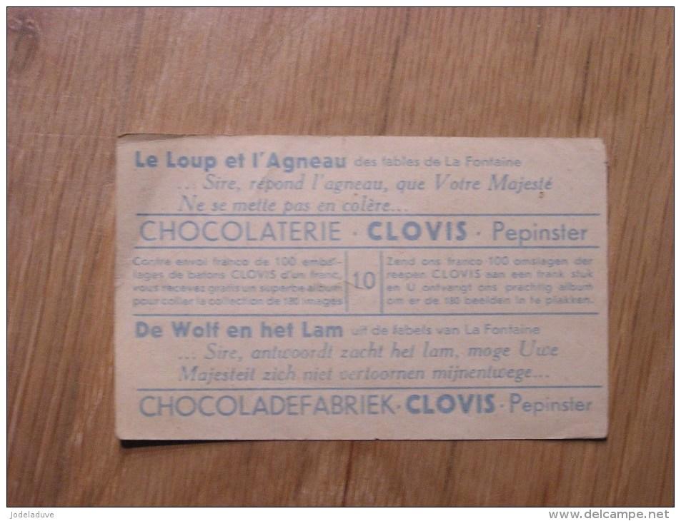 Chromo  N° 10  Le Loup Et L´agneau   Chocolat Clovis Pepinster Chocolaterie Belge Trading Card Chromos - Otros