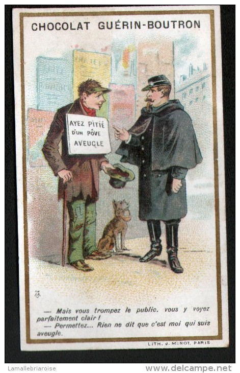 CHROMO - CHOCOLAT GUERIN-BOUTRON - LITHO J. MINOT PARIS - AGENT DE POLICE ET MANDIANT - Guérin-Boutron