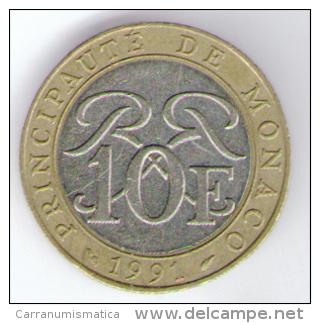 MONACO 10 FRANCS 1991 RAINIER III BIMETALLICA - Monaco