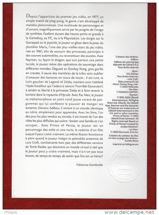 """Notice Officielle 1er Jour De 2005 """" LES JEUX VIDEO LARA CROFT PAC MAN SIMS MARIO LINK.."""". N° YT BF 91 - Documenten Van De Post"""