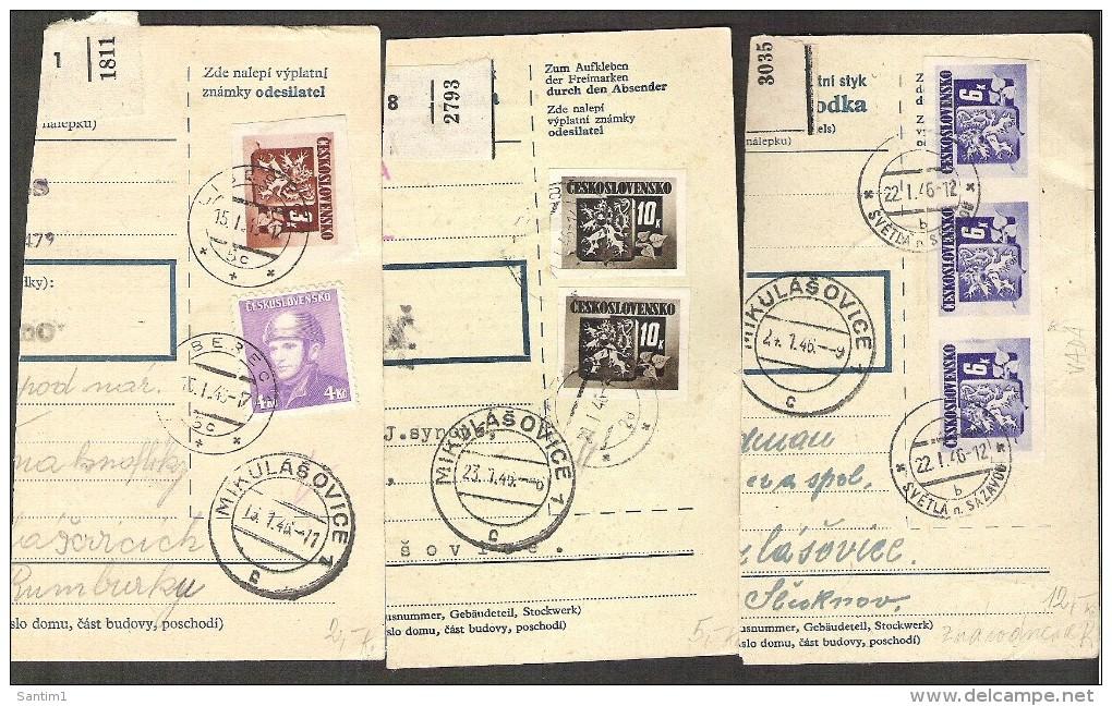 Czechoslovakia, 1947, Nice Lot Of The Cuts From Parcel Declarations - Czechoslovakia