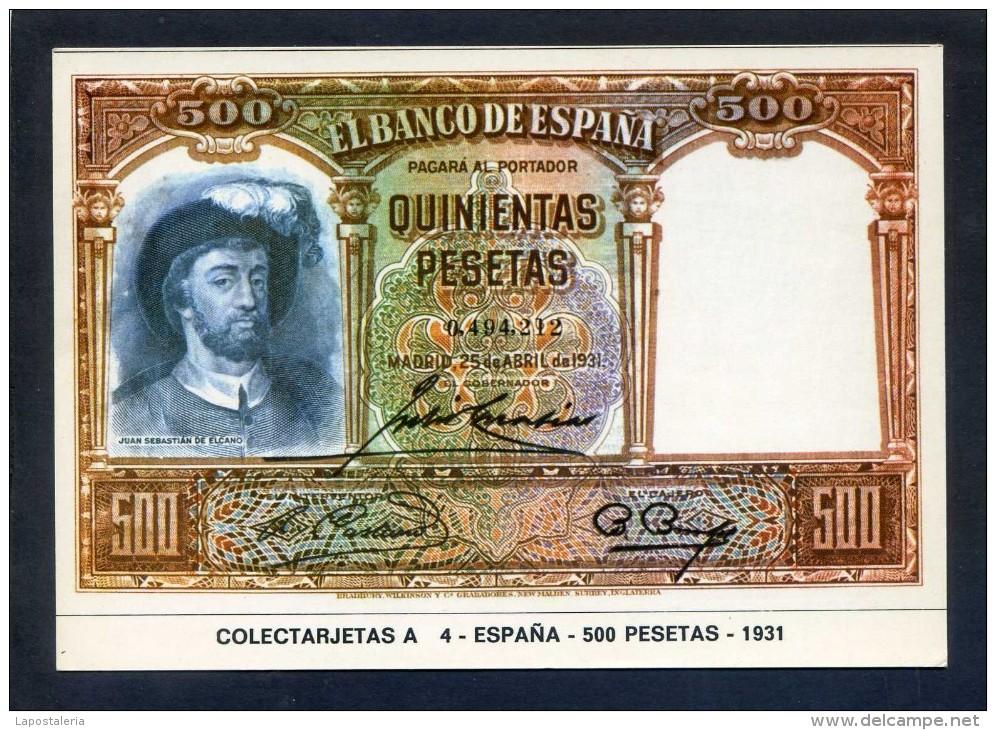 Colectarjetas A 4 - *España - 500 Pesetas - 1931* Dep. Legal B. 4478 - XVI. Nueva. - Monedas (representaciones)