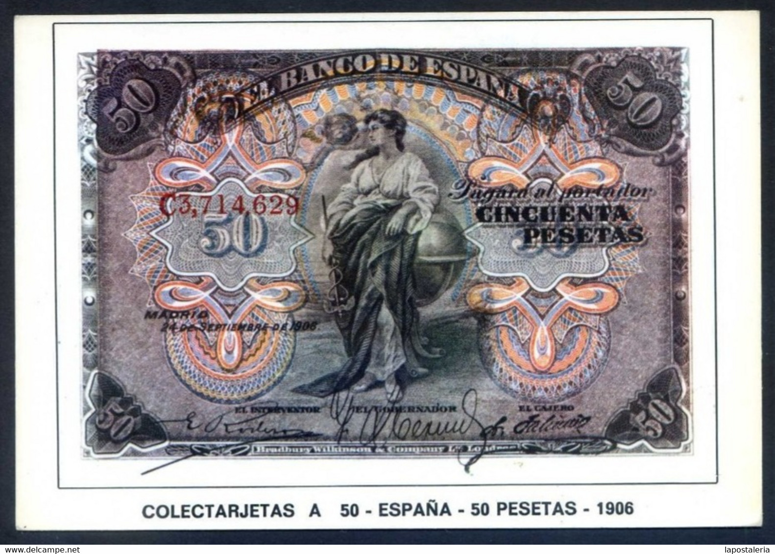 Colectarjetas A 50 - *España - 50 Pesetas - 1906* Ed. Eurohobby. Nueva. - Monedas (representaciones)
