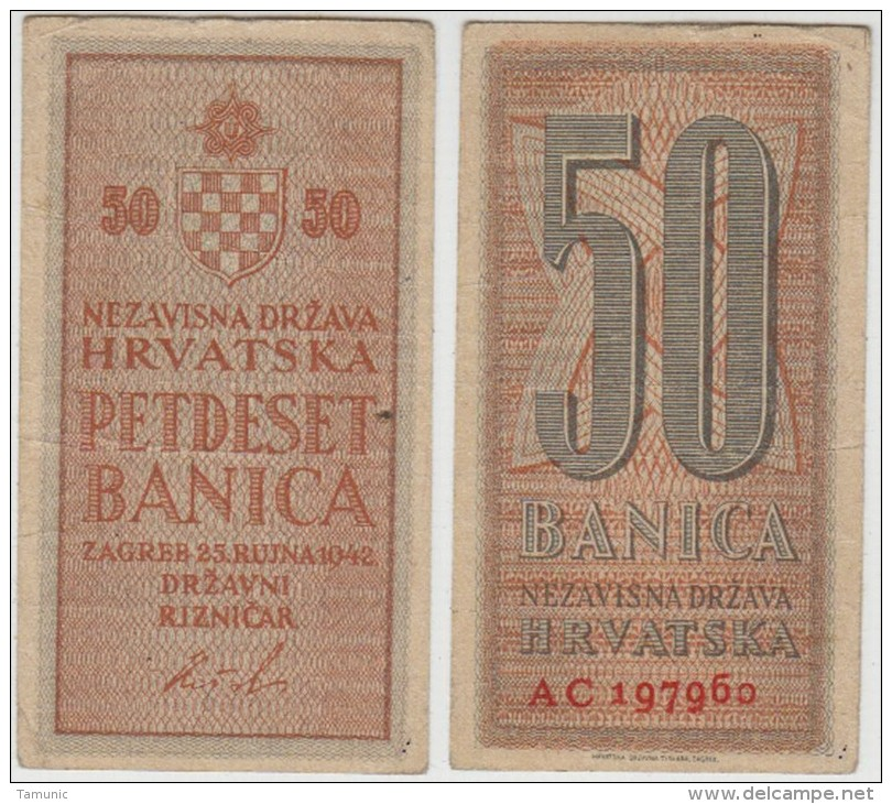 CROATIA  NDH  50 Banica 1942 *TWO LETTERS IN SER.NUMBER* - USED - Croatie