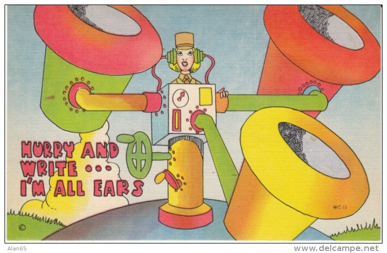 US Anti-German Propaganda Humor, WAC Woman Hurry And Write, Air Raid Equipment, C1940s Vintage Linen Postcard - Humour