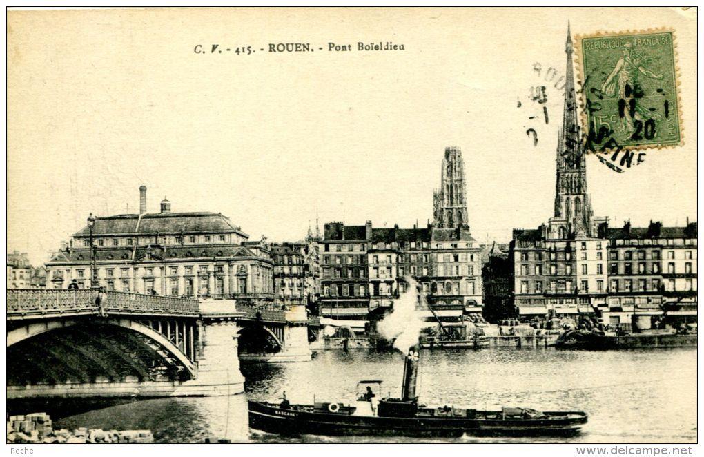 """N°36548 -cpa Rouen Pont Boïeldieu -remorqueur """"Mascaret""""- - Remorqueurs"""